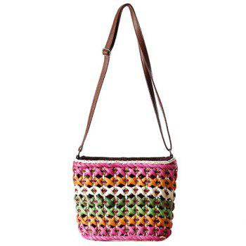 Casual Color Matching and Weaving Design Women's Crossbody Bag