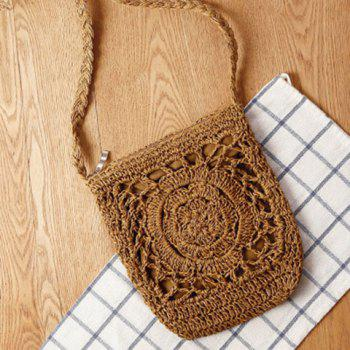 Casual Weaving and Solid Color Design Women's Crossbody Bag - BROWN