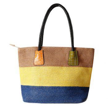 Leisure Straw and Color Block  Design Women's Shoulder Bag