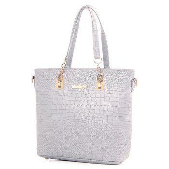 Fashionable Metallic and Embossing Design Women's Shoulder Bag - OFF WHITE