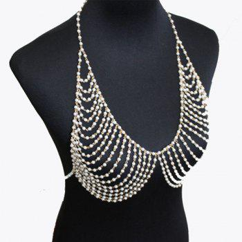 Gorgeous Multilayered Faux Pearl Body Chain For Women - WHITE