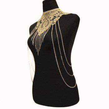 River Tassel Fake Collar Geometric Body Chain - GOLDEN