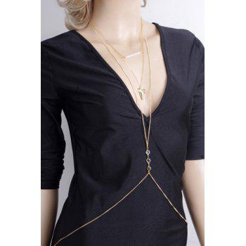 Chic Sharp Tooth Shape and Rhinestone Embellished Women's Body Chain