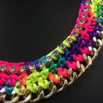A Suit of Trendy Rhinestones Knitted Colorful Rope Necklace and Earrings For Women - COLORMIX