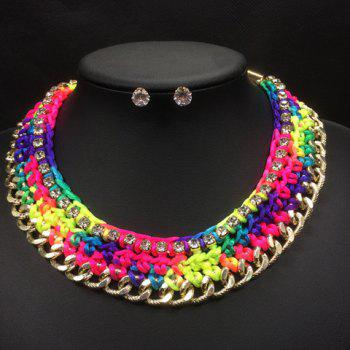 A Suit of Trendy Rhinestones Knitted Colorful Rope Necklace and Earrings For Women