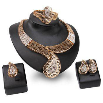A Suit of Hollow Out Rhinestone Necklace Bracelet Ring and Earrings