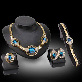 A Suit of Water Drop Necklace Bracelet Ring and Earrings - BLUE ONE-SIZE