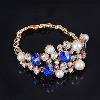 A Suit of Rhinestoned Faux Pearl Necklace Bracelet Ring and Earrings - GOLDEN ONE-SIZE