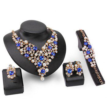 A Suit of Rhinestoned Faux Pearl Necklace Bracelet Ring and Earrings