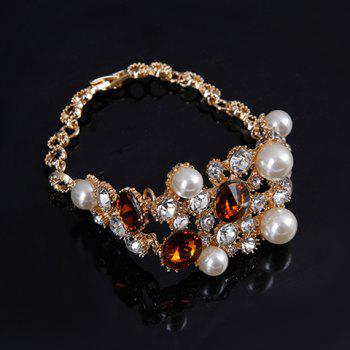 A Suit of Rhinestone Faux Pearl Necklace Bracelet Ring and Earrings - GOLDEN ONE-SIZE