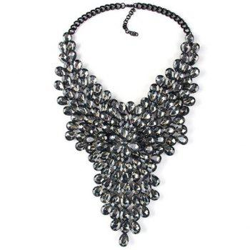 Fashionable Artificial Black Crystals Water Drop Necklace For Women - BLACK