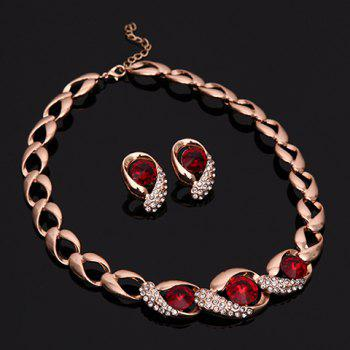 A Suit of Rhinestone Faux Ruby Necklace Bracelet Ring and Earrings - GOLDEN ONE-SIZE