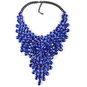 Water Drop Artificial Crystals Necklace - SAPPHIRE BLUE