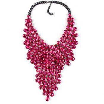 Fashionable Artificial Crystals Flower Water Drop Necklace For Women - ROSE