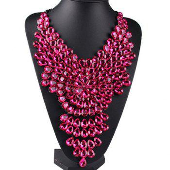 Fashionable Artificial Crystals Flower Water Drop Necklace For Women