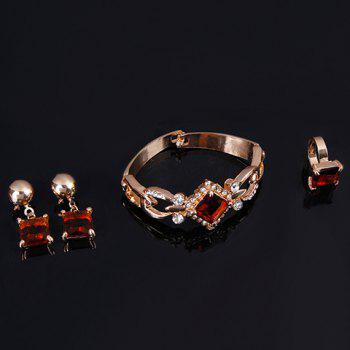 A Suit of Faux Gem Geometric Necklace Bracelet Ring and Earrings - GOLDEN ONE-SIZE