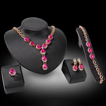 A Suit of Faux Gem Water Drop Necklace Bracelet Ring and Earrings - GOLDEN ONE-SIZE
