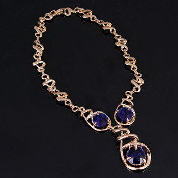 A Suit of Faux Sapphire Necklace Bracelet Ring and Earrings - GOLDEN ONE-SIZE