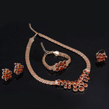 A Suit of Retro Faux Ruby Necklace Bracelet Ring and Earrings - GOLDEN ONE-SIZE