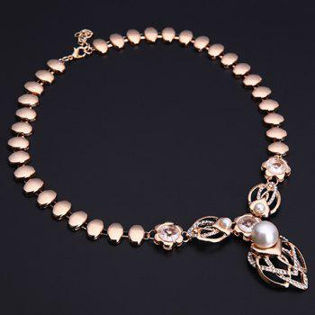 A Suit of Heart Faux Pearl Necklace Bracelet Ring and Earrings - GOLDEN ONE-SIZE
