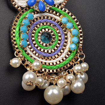 A Suit of Faux Gems Pearls Beads Coin Necklace and Earrings - COLORMIX
