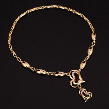 A Suit of Vintage Rhinestone Heart Necklace Bracelet Ring and Earrings For Women - GOLDEN ONE-SIZE