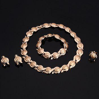 A Suit of Graceful Solid Color Necklace Bracelet Ring and Earrings For Women - GOLDEN ONE-SIZE