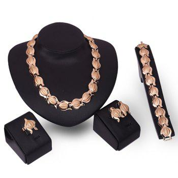 A Suit of Graceful Solid Color Necklace Bracelet Ring and Earrings For Women