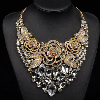 Faux Crystal Flowers Leaf Necklace
