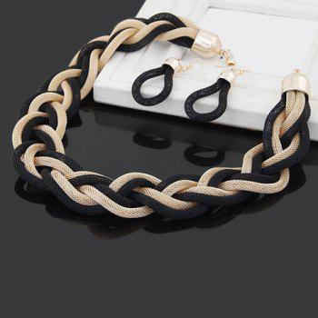 A Suit of Trendy Knitted Chain Necklace and Earrings For Women - BLACK/GOLDEN