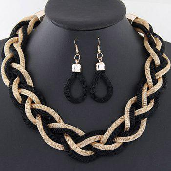 A Suit of Trendy Knitted Chain Necklace and Earrings For Women