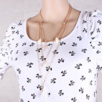 Chic Layered Feather Star Tassel Sweater Chain For Women - GOLDEN