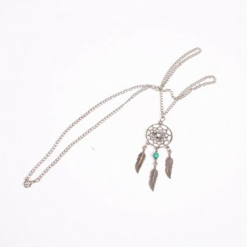 Charming Feather Hollow Out Sweater Chain For Women - SILVER