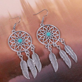 Dream Catcher Turquoise Feather Drop Earrings - SILVER