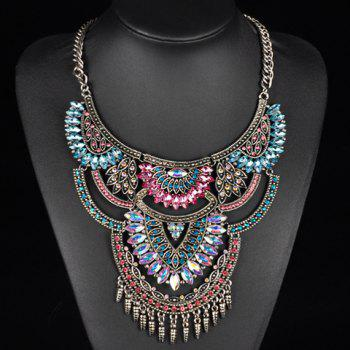 Faux Crystals Rhinestones Oval Fringed Necklace