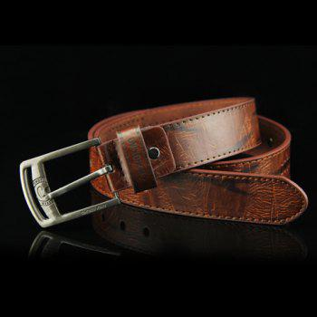 Stylish Button and Small Hole Embellished Letter Pattern Pin Buckle Men's PU Belt - COFFEE