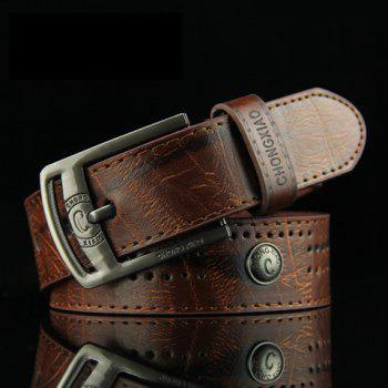 Stylish Button and Small Hole Embellished Letter Pattern Pin Buckle Men's PU Belt