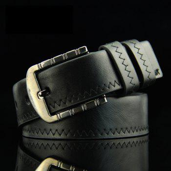 Stylish Sewing Thread Embellished Solid Color Pin Buckle Men's PU Belt