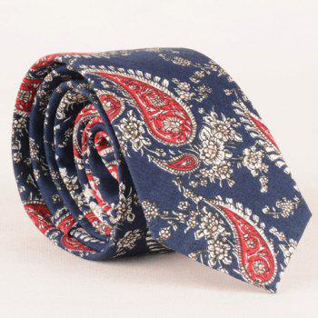 Stylish Paisley and Flowers Pattern Blue 6CM Width Men's Tie - BLUE