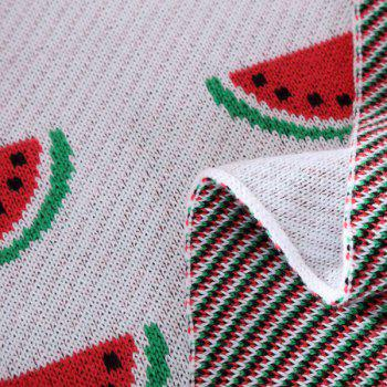 Hot Sale Watermelon Pattern Cotton Knitted Blanket For Child - RED/WHITE RED/WHITE