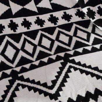 Fashionable Black White Color Jacquard Weave Cotton Knitted Blanket - W35.43INCH*L43.3INCH W35.43INCH*L43.3INCH