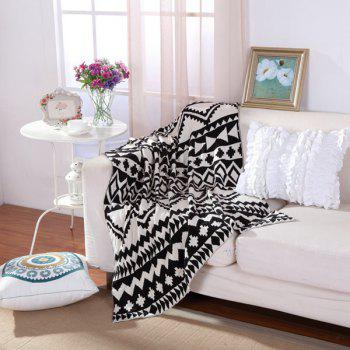Fashionable Black White Color Jacquard Weave Cotton Knitted Blanket