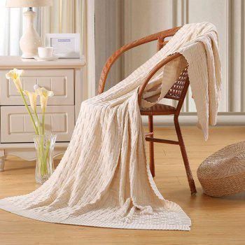 Chic Quality Casual Style Solid Color Cotton Pattern Knitted Blanket - OFF-WHITE OFF WHITE