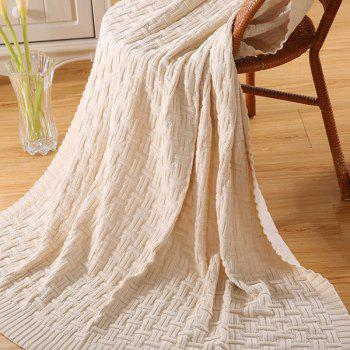 Chic Quality Casual Style Solid Color Cotton Pattern Knitted Blanket -  OFF WHITE