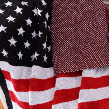 Hot Sale Stars and Stripes Pattern Cotton Knitted Blanket - W51.18INCH*L62.99INCH W51.18INCH*L62.99INCH