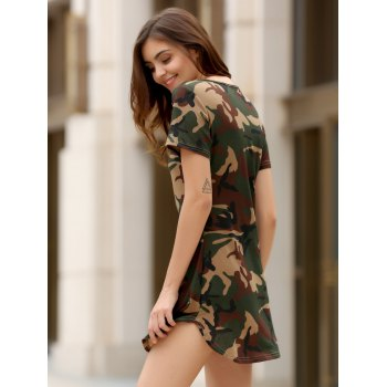 Fashionable Short Sleeve Round Collar Camo Print Women's Mini Dress - CAMOUFLAGE S