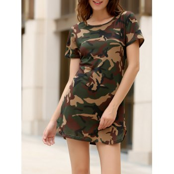 Round Collar Short Sleeve Camo Print Women s Mini Dress