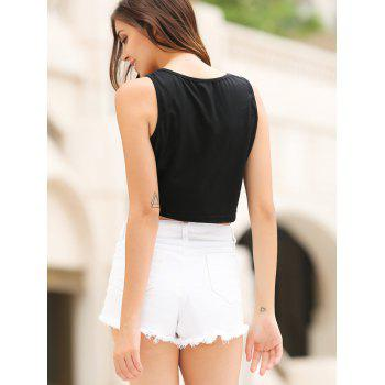 Stylish Scoop Neck Letter Print Crop Top For Women - M M