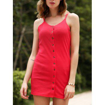 Chic Red Spaghetti Strap Buttoned Sheath Dress For Women