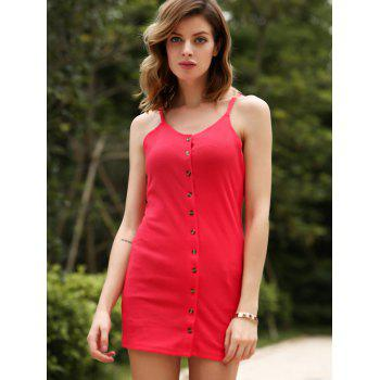 Chic Red Spaghetti Strap Buttoned Sheath Dress For Women - RED S